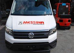 Beschriftung Firmenbus Messina Vorne